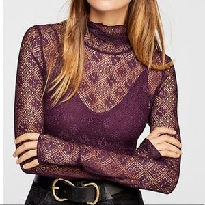 NWT Free People SHEER LACE TURTLENECK TOP